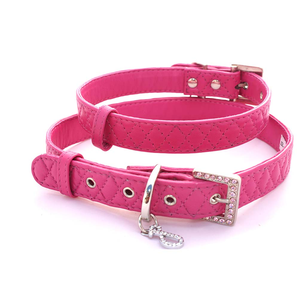 Diamond Quilted Leather Collars (Fuchsia)